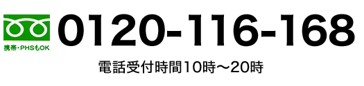 電話受付時間10時~20時、0120-116-168